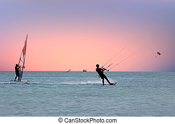 antilles, coucher soleil, watersport, mer, aruba, île