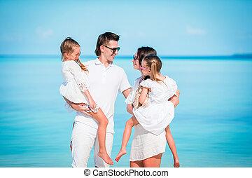 antilles, famille, vacation., quatre, plage blanche