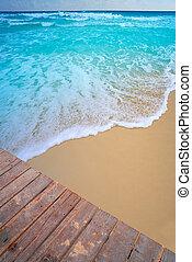 antilles, jetée, eau, exotique, bois, plage
