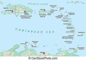 antilles, köztársaság, dominikai, haiti