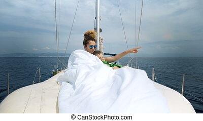 antilles, naviguer, couple, yacht, jeune, mer