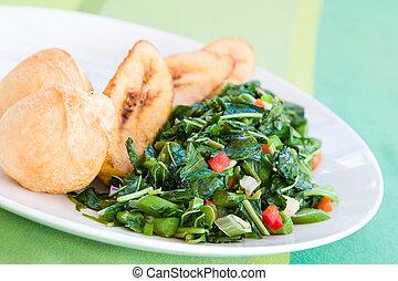 antilles, spécialité, boulettes, (spinach), callaloo, plat, servi, frit