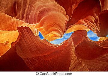 antilope, sculture, dentro, liscio, canyon, roccia