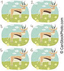 antilope, spiel, visuell