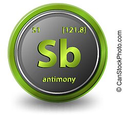 Antimony chemical element. Chemical symbol with atomic number and atomic mass. illustration