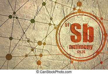 Antimony chemical element. Sign with atomic number and atomic weight. Chemical element of periodic table. Molecule And Communication Background. Connected lines with dots. Distress grunge texture