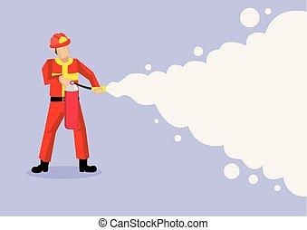 antincendio, schiuma, pompiere, illustrazione, spruzzare, vettore, cartone animato