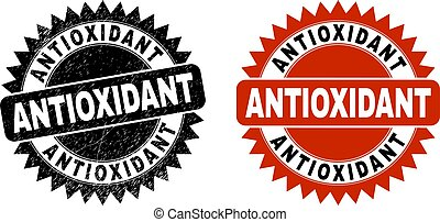 Black rosette ANTIOXIDANT watermark. Flat vector scratched stamp with ANTIOXIDANT title inside sharp star shape, and original clean version. Watermark with scratched surface.
