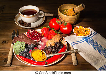 Dinner plate filled with antioxidants fruits and vegetables