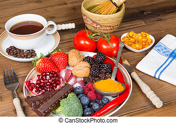 Antioxidant drinks and food - Drinks and food with...