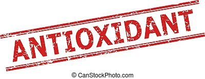 Red ANTIOXIDANT watermark on a white background. Flat vector textured watermark with ANTIOXIDANT title between double parallel lines. Watermark with corroded texture.