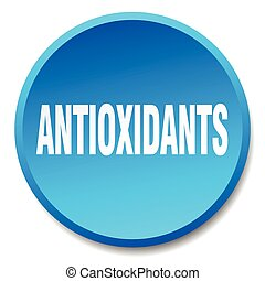 antioxidants blue round flat isolated push button