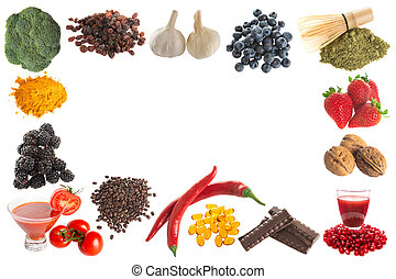 Antioxidants border - Border frame image of healthy...