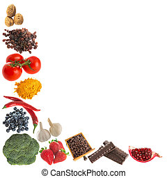 Antioxidants corner - Corner of isolated antioxidant fruit...