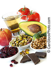 Antioxidants - Foods rich in antioxidants, over white...