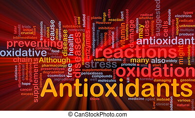 Background concept wordcloud illustration of antioxidants health nutrition glowing light