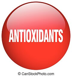 antioxidants red round gel isolated push button