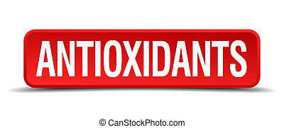 antioxidants red three-dimensional square button isolated on white background