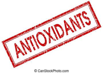 antioxidants, rode plein, postzegel, vrijstaand, op wit, achtergrond