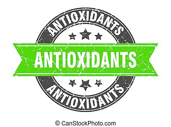 antioxidants round stamp with green ribbon. antioxidants