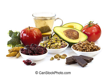Antioxidants - Variety of foods rich in antioxidants, ...