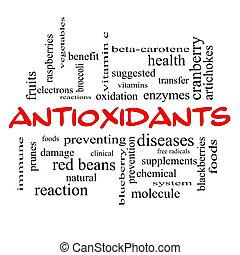 Antioxidants Word Cloud Concept in red caps