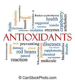 antioxydants, concept, mot, nuage