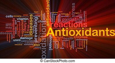 antioxydants, incandescent, concept, santé, fond