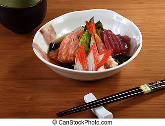 antipasto - japanese appetizer fish and vegetables