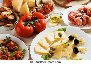 antipasto, traditionelle, italiensk, appetitvækkeren, mad
