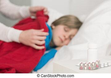 antipyretics, antibióticos, diariamente, dose