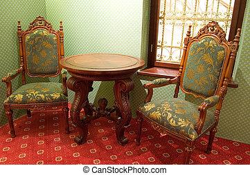 antiquado, cadeiras