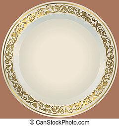 antiquado, prato branco