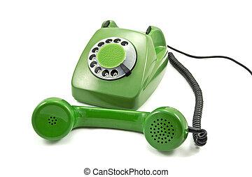 antiquado, verde, análogo, telefone