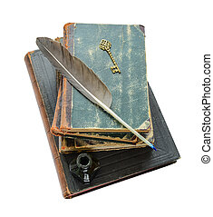 Antiquarian books - Stack of ancient books, quill and ink,...