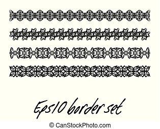Antiquarian border set in black and white, monochrome ...