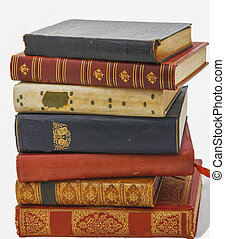 Stack of antiquarian books in leather covers.