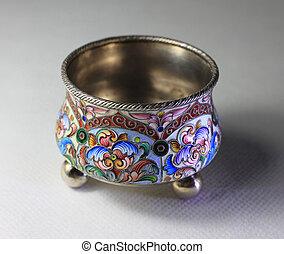 Silver antiquarian saltcellar with enamel