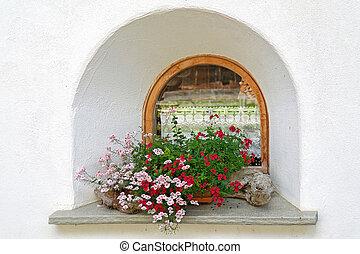 antiquato, gerani, finestra