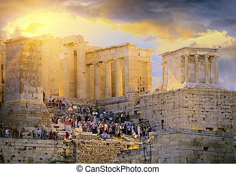 Dramatic sunrise over the antique Acropolis of Athens. Greece
