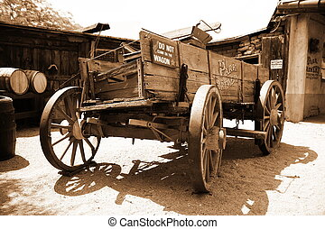 Antique american cart in old wester