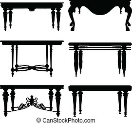 A set of table design in silhouette.