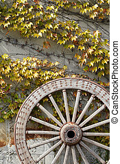 Antique and weathered wood cart wheel