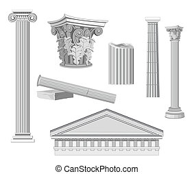 Antique Architectural Elements isolated on white