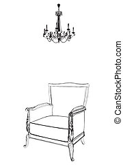 Antique Armchair And Chandelier