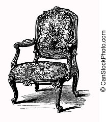 Vector illustration of antique baroque armchair, damask chair