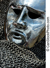 Antique Armour Metal Human Face - Antique metal helmet...
