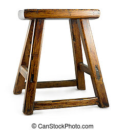 antique asian stool isolated on a white background