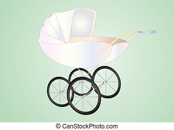 antique baby buggy - baby buggy on light background