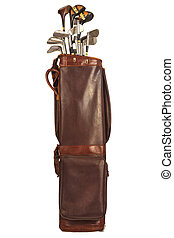 Antique bag with golf clubs isolated on white